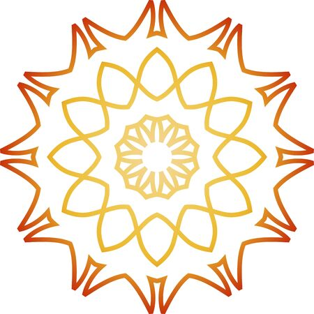 Orange line mandala on white background Illusztráció