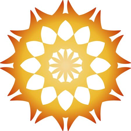 Orange simple mandala icon on white background