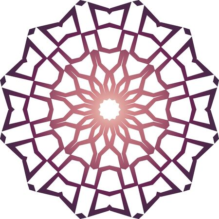 Violet simple mandala icon on white background