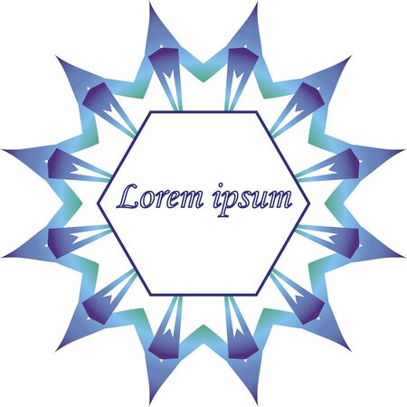 Blue mandala star label template