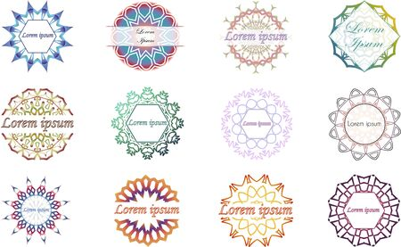 Collection of 12 mandala ornament labels