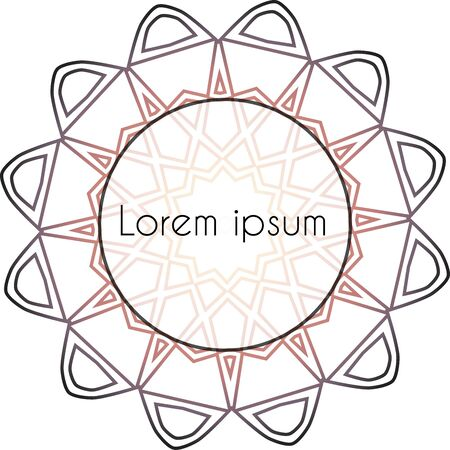 Line mandala purple label template