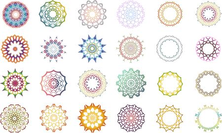 Set of 24 colorful mandala icons and frames