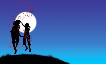 Couple dancing in moonlight, illustration silhouette