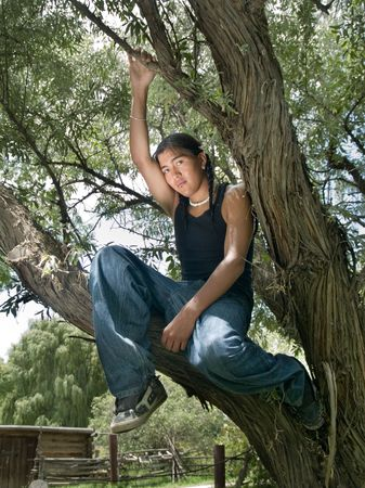 Handsome 15 year old Native American boy sitting in a tree