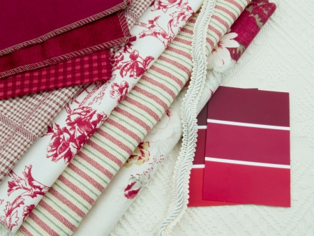 decoration: Red and white interior decoration plan color cards and textile swatches. Stock Photo