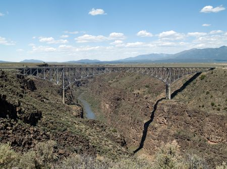 nm: Rio Grande Gorge Bridge, part of highway 64 in Taos County, New Mexico.