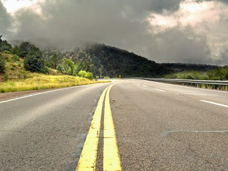 road surface: Rain and sunshine on a road trip