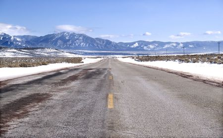 Road to the Rocky Mountains in winter. photo