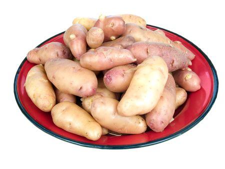 fingerling: Garden fresh rose fingerling potatoes on a red plate isolated on white Stock Photo