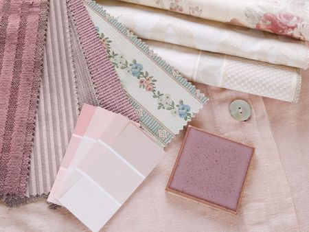 Rosy pink interior design plan - handcrafted ceramic tile with fabric and paint color swatches photo
