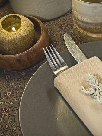 stoneware: Ethnic rustic set dinner table