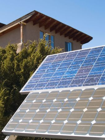 electric grid: Solar panel in front of a home