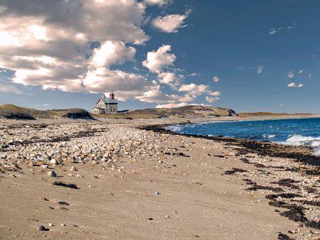 歴史的な北ライト、ブロックの島、ロードアイランド