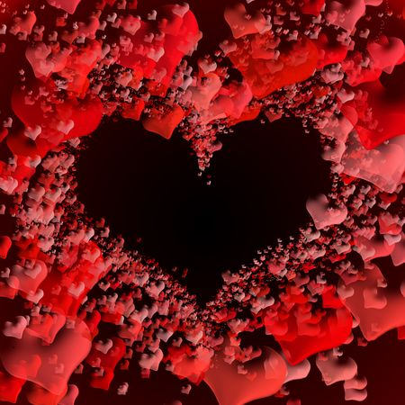 Multiple small red hearts forming an empty space in the middle  - space for text