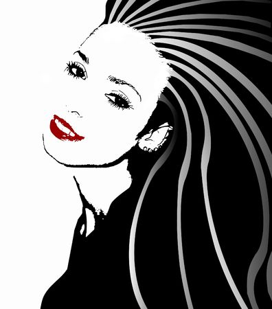 Black, white and red illustration of a beautiful young woman