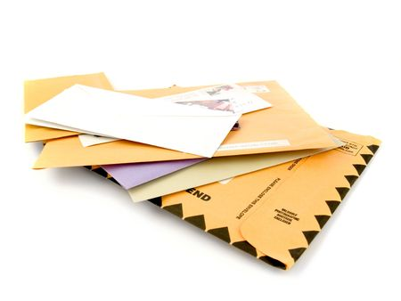 mailed: Mail isolated on white background Stock Photo