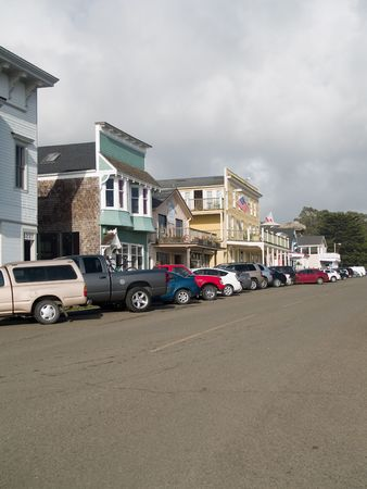 old towns: Main Street shopping district of Mendocino, California
