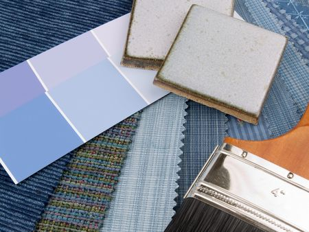 paint samples: Medium blue interior design plan - two handcrafted ceramic tiles with fabric and paint color swatches.