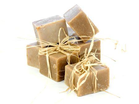 handmade soap: Natural, nontoxic handmade soap bars isolated on white