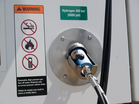 hydrogen: Close up of a hydrogen fueling dispenser for vehicles.