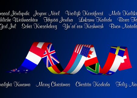 Holiday illustration of flags from multiple countries and Christmas wishes in multiple languages.