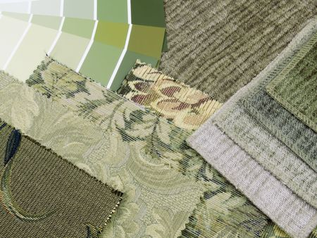 Interior decoration plan of green printed textiles and green paint swatches