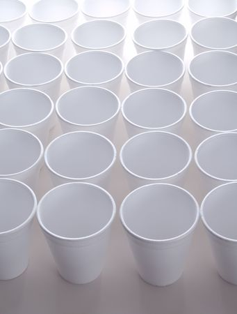non: Non recyclable polystyrene foam cups with copy space Stock Photo