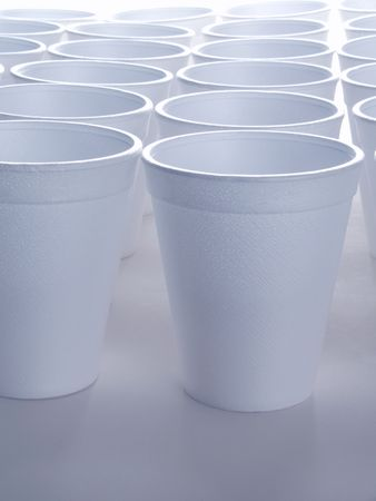 Non recyclable polystyrene foam cups with copy space 版權商用圖片