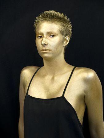 검정색 칵테일 드레스 체육 젊은 여성이 금을 그린 스톡 콘텐츠