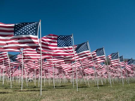 drapeaux am�ricain: Drapeaux am�ricains, m�morial pour les v�t�rans de la guerre du Vi�t Nam in Questa, NM, week-end du Memorial day Banque d'images