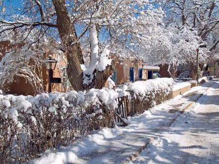 nm: Winter on Bent street, Taos, New Mexico