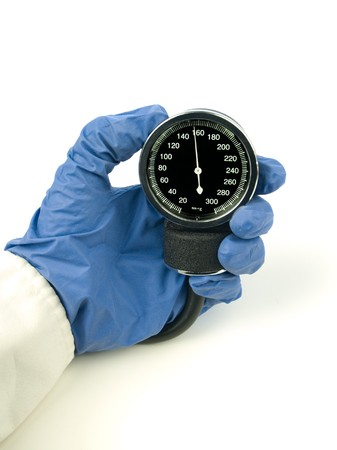 systolic: High, stage 1, systolic blood pressure reading showing in a sphygmomanometer isolated on white