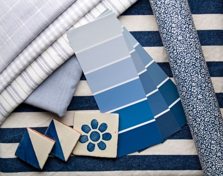 paint samples: Blue interior decoration plan  Stock Photo