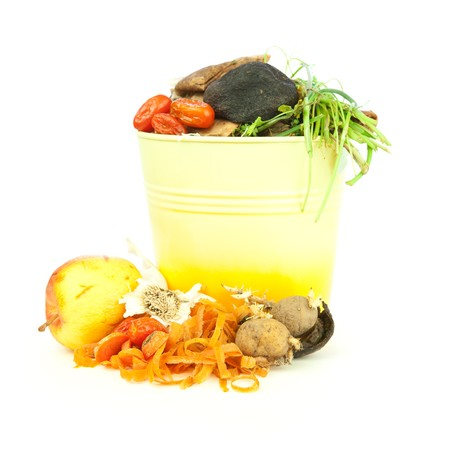 composting: Kitchen compost bucket, vegetable scraps for organic and biodynamic gardening