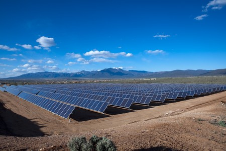 Large photovoltaic system at the UNM-Taos Klauer Campus, NM Stock Photo - 7349315