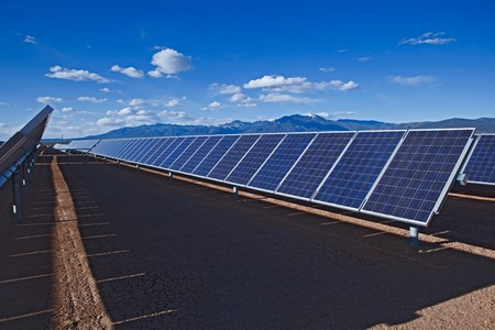 Large photovoltaic system at the UNM-Taos Klauer Campus, NM Stock Photo - 7349298