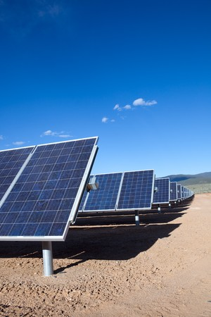 Large photovoltaic system at the UNM-Taos Klauer Campus, NM Stock Photo - 7349297