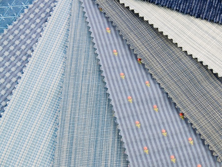 Medium blue upholstery fabric swatches photo