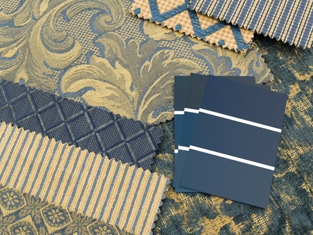 swatches: Blue and gold print interior decoration plan