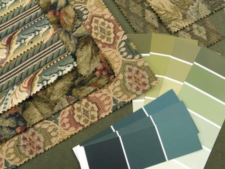 earth tone: Blueish green print interior decoration plan  Stock Photo