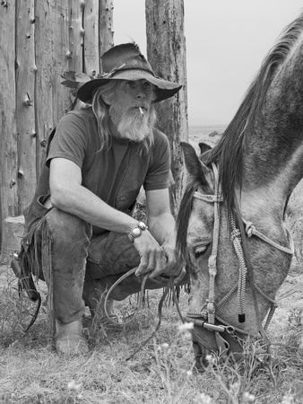 fringes: Cowboy with his horse