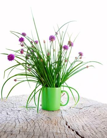 cebollin: Las cebolletas en una taza sobre una mesa rústica