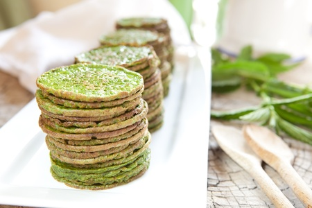Nettles or spinach pancakes