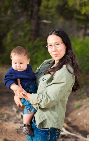 Native American mother with her mixed race son photo