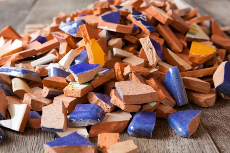 loose: Broken tiles for a mosaic arts and crafts project Stock Photo