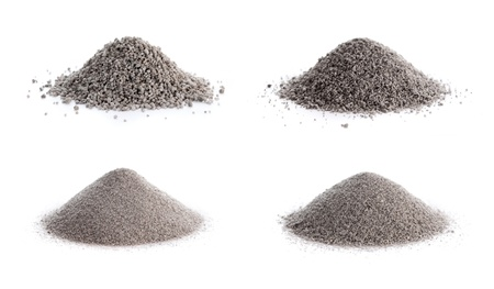 non  toxic: Unprocessed perlite ore  Grades clockwise from top left  8 12, 12 16, 16 30 and 30  Stock Photo