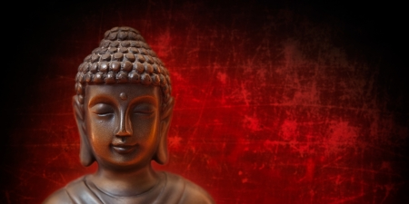 Boeddha gezicht op rood en zwart, panorama