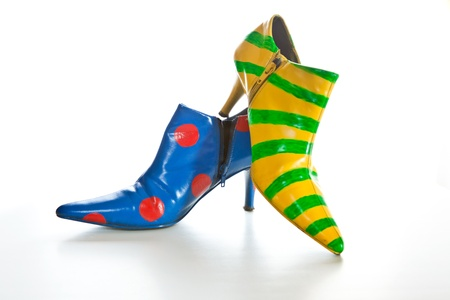 clown shoes: Crazy shoes for self expression on white