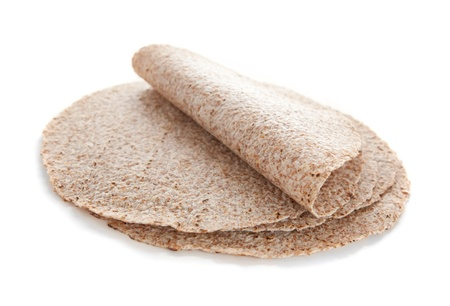 sprouted: Sprouted wheat tortillas isolated on white